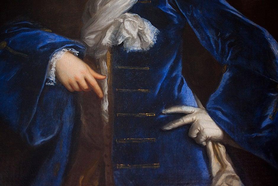 Blue velvet is worn by Sir Matthew Holworthy (c. 1608-1678), captured in oil on canvas. Stephanie Mitchell/Harvard Staff Photographer