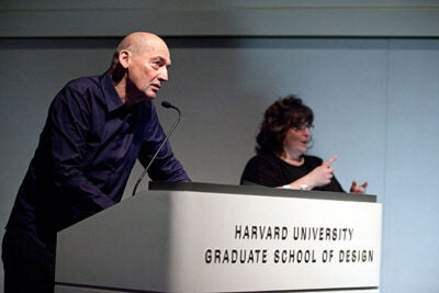 "Colorful architect and urban theorist Rem Koolhaas shared his thoughts before an overflow crowd at Piper Auditorium with a presentation titled ""Current Preoccupations."" Koolhaas is a professor in the practice of architecture and urban design at the Harvard Graduate School of Design."