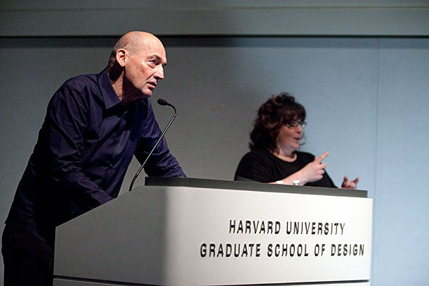 """Colorful architect and urban theorist Rem Koolhaas shared his thoughts before an overflow crowd at Piper Auditorium with a presentation titled """"Current Preoccupations."""" Koolhaas is a professor in the practice of architecture and urban design at the Harvard Graduate School of Design."""