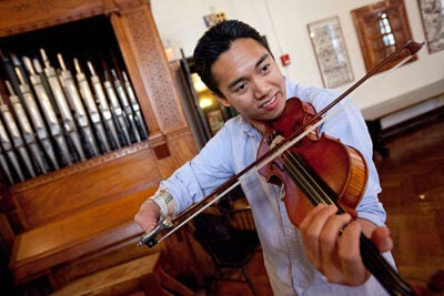Violinist Adrian Anantawan was born without a right hand and uses a specially designed attachment made of plastic and Velcro that allows him to hold his bow. After years as a professional musician, he is enrolled in the Arts in Education Program at Harvard's Graduate School of Education, with the goal of helping other disabled students in their artistic and creative development.