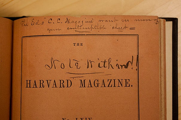 """Harvard owns this May 1861 copy of the Harvard Magazine, which was returned by a miffed Southern reader — angry that this """"contemptible sheet"""" would take the Union side in the Civil War. One of the magazine's editors was 20-year-old Oliver Wendell Holmes Jr."""