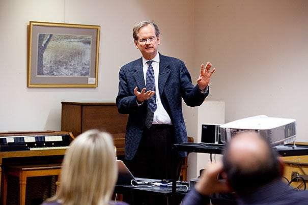 """Harvard Law School Professor Lawrence Lessig discussed his new book, """"Republic, Lost,"""" at the Hyde Park Branch Library as part of the semester-long John Harvard Book Celebration."""