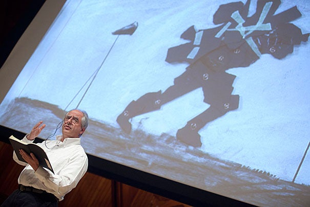 """William Kentridge, who is delivering this year's Norton Lectures, calls his series """"Six Drawing Lessons."""" The next lecture will be March 27 at Sanders Theatre."""