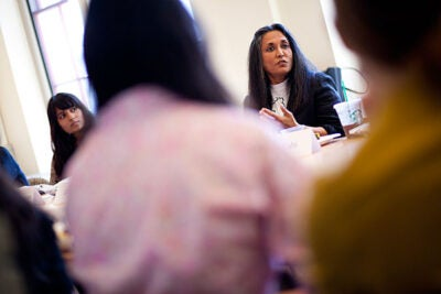 """Filmmaker Deepa Mehta delivered the Rama S. Mehta lecture at the Radcliffe Institute, discussing her work — which addresses complex social themes such as arranged marriage, isolation, racism, homosexuality, and domestic violence — and her collaboration with Salman Rushdie on a screen adaptation of his book """"Midnight's Children."""""""