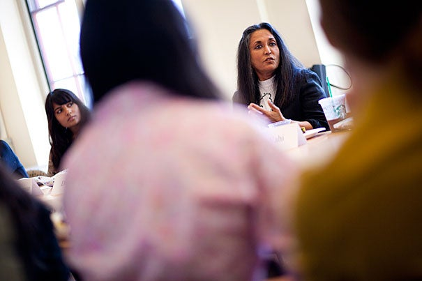 "Filmmaker Deepa Mehta delivered the Rama S. Mehta lecture at the Radcliffe Institute, discussing her work — which addresses complex social themes such as arranged marriage, isolation, racism, homosexuality, and domestic violence — and her collaboration with Salman Rushdie on a screen adaptation of his book ""Midnight's Children."""