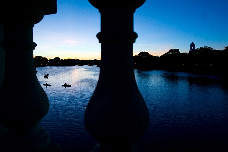 The color of the sky setting on the Charles River at twilight.  Rose Lincoln/Harvard Staff Photographer