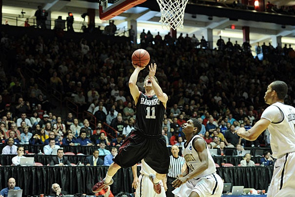 Harvard co-captain Oliver McNally heads to the hoop during the Crimson's 79-70 loss to Vanderbilt in the second round of the 2012 NCAA Men's Division 1 Basketball Championship Tournament.