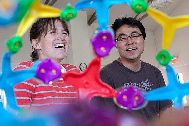 Katia Bertoldi, assistant professor in applied mechanics at the Harvard School of Engineering and Applied Sciences, with postdoctoral fellow Jongmin Shim.