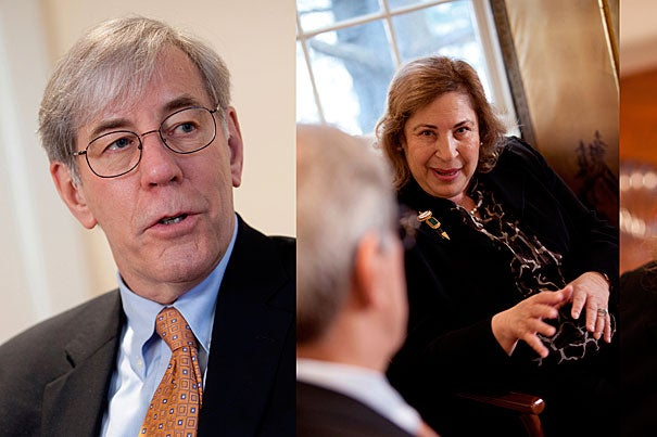Robert Reischauer (left), the senior fellow of the Harvard Corporation, and Leila Fawaz (right), president of the Board of Overseers, talk about Harvard's governance, the implementation of recent governance reforms, and the interplay between the two boards.