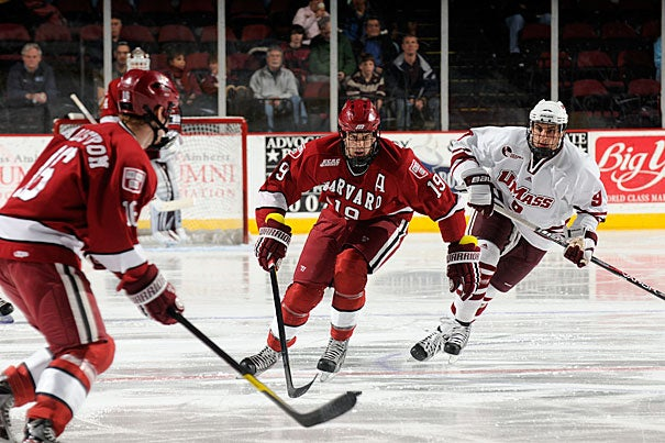 Alex Killorn, pictured here from a game earlier in the season, added two goals and two assists to lead the Harvard men's hockey team to an 8-2 win against rival Yale on March 11.
