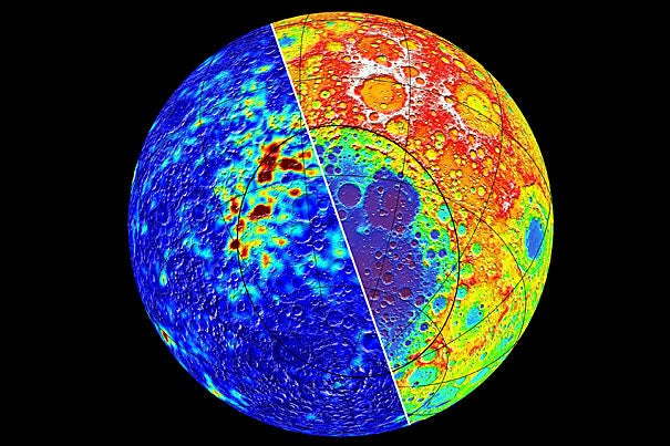 Magnetic field intensity (left) and topography (right) of the moon centered over the giant 2,400 kilometer-diameter crater known as South Pole-Aitken impact basin. Significant quantities of metallic iron from the projectile were deposited on the northern rim of the basin that became magnetized in the presence of a magnetic field, forming several large magnetic anomalies. Low values of both the magnetic field strength and topography are plotted in blue colors, which grade to red for high values.