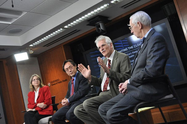 Charles Czeisler (second from right), Baldino Professor of Sleep Medicine, discusses America's sleep problems during an HSPH forum event. Other panelists include Susan Redline (from left), Farrell Professor of Sleep Medicine; Frank Hu, professor of nutrition and epidemiology; and Lucian Leape, adjunct professor of health policy.