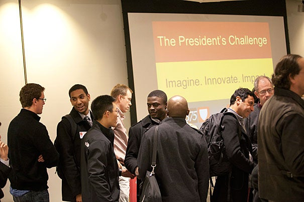"""""""A large number of teams applied to the President's Challenge, and the quality of their submissions was truly impressive. We're off to a great start,"""" said Provost Alan Garber, who organized the judging panel along with Harvard Business School Professor Bill Sahlman. In February, the teams gathered at the i-lab to discuss their plans."""