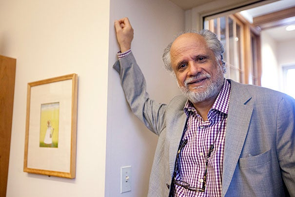 Professor Homi K. Bhabha, pictured at the Barker Center, was in New Delhi on April 4 to receive one of India's highest civilian honors.
