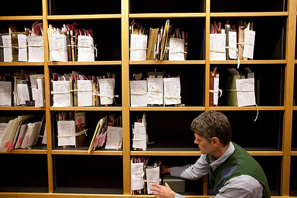 """Many items in general circulation at Widener would anywhere else only be found in special collections. Vulnerable items still in the stacks come to light because of alert library users. """"They're targeting the items we most want to find,"""" said Todd Bachmann, associate head of imaging services at Widener."""