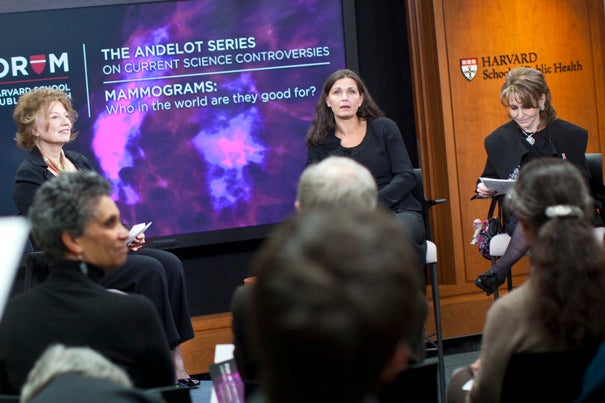 "Mette Kalager, pictured (center) at a School of Public Health Event in March 2011, is lead author of new research linking mammograms to significant overdiagnosis of breast cancer. ""Mammography might not be appropriate for use in breast cancer screening because it cannot distinguish between progressive and nonprogressive cancer,"" she said."