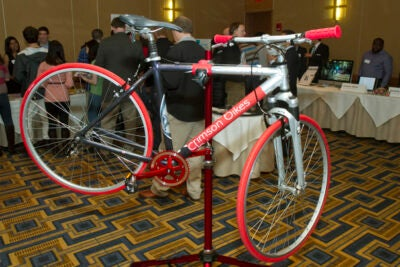 A bike-sharing program was one of 25 semifinalist projects featured at the showcase and awards reception of the Harvard College Innovation Challenge.