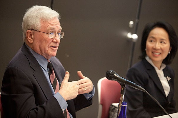 """Herbert Benson, pictured with lecturer Lilian Cheung, was at the Harvard School of Public Health last week to talk about research on mind-body therapy. Benson is the author of """"The Relaxation Response"""" and """"Relaxation Revolution."""""""
