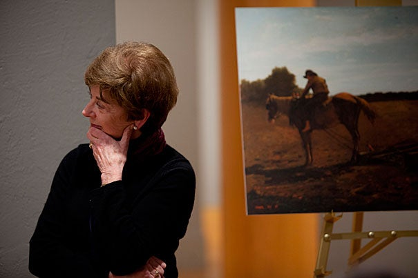 """Senior museum educator Judith Murray (pictured)  helped develop the Engaging New Americans project at the Harvard Art Museums. It's designed to introduce immigrants to American culture, and to show """"how works of art really speak,"""" she said. """"The Brush Harrow"""" is a frequent centerpiece of the classes."""