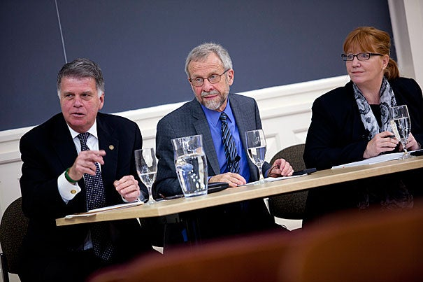 """We are all in the same business: protecting, collecting, and allowing the use of information,"" United States archivist David Ferriero (far left) told a packed audience during a ""Harvard Library Strategic Conversation"" on integrating libraries, archives, and museums (an initiative referred to as ""LAM"") held Monday at Longfellow's Askwith Hall. Also pictured are Tom Hickerson (center) of the University of Calgary and Holly Witchey of Johns Hopkins University."
