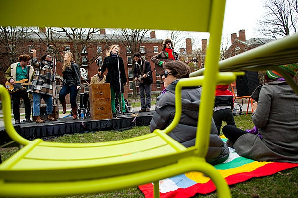 """""""The Chairs Revue"""" was back in action today with Brooklyn-based indie rock band The Lisps kicking off the season of open-air song, dance, and performance numbers.  The outdoor entertainment will continue through April 26."""