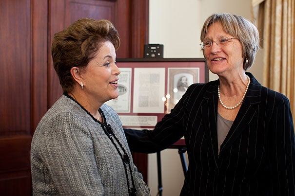 """""""In my capacity as president of Brazil I am here because we want to build our joint future,"""" said Brazil President Dilma Rousseff (left), who visited with Harvard President Drew Faust. Harvard signed a five-year agreement with the government of Brazil to eliminate financial barriers for talented Brazilian science students pursuing undergraduate and graduate studies at Harvard."""