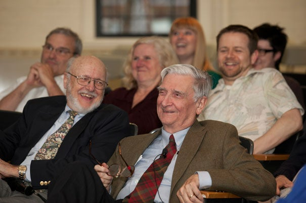 "Group loyalty, renowned Harvard biologist E.O. Wilson (right) said, is at the root of both some of our finest and darkest impulses. Wilson discussed the concept of eusociality and his most recent book, ""The Social Conquest of Earth,"" at a recent Harvard Museum of Natural History talk whose attendees included David Ellis (left), interim director of the museum."
