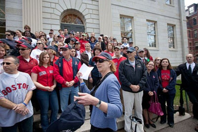 "Executive Vice President Katie Lapp donned Red Sox gear and participated in ""Rally Against Cancer,"" which raised $11,700 from more than 400 faculty and staff members."