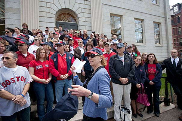 """Executive Vice President Katie Lapp donned Red Sox gear and participated in """"Rally Against Cancer,"""" which raised $11,700 from more than 400 faculty and staff members."""