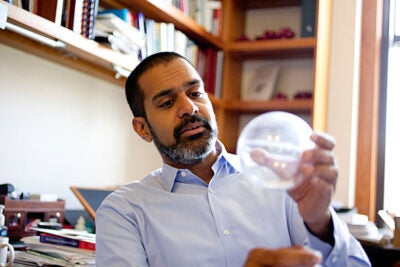 Vinothan Manoharan, an assistant professor of chemical engineering and physics at Harvard School of Engineering and Applied Sciences, is studying self-assembly: when particles interact with one another and spontaneously arrange themselves into organized structures.