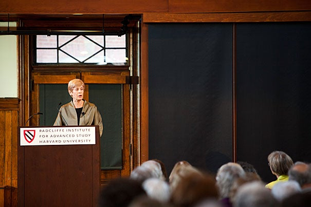 "Women's exclusion from the University began ""as a part of the social order of the time,"" one that went largely unquestioned by both men and women and that was connected to both ""tradition and privilege,"" said historian Helen Lefkowitz Horowitz, speaking at the Radcliffe Institute, in a talk titled ""It's Complicated: 375 Years of Women at Harvard."""