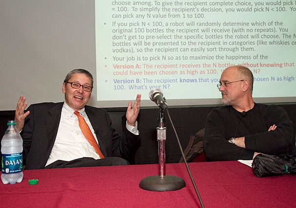 Americans like choices; the more the better. We want to choose what we want, even if the options are so great that our decision becomes essentially random, said social psychologist Dan Gilbert (right) during a conversation with economist N. Gregory Mankiw (left).