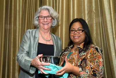 Emmy Award-winning producer Rebecca Eaton (left) was one of the recipients of the 2012 Women's Leadership Awards coordinated by the Harvard College Women's Center. Presenting the award was Assistant Dean of Harvard College for Student Life Emelyn A. dela Pena.