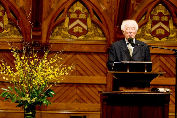 "A reading by Seamus Heaney — during Morning Exercises May 24 — will cap a yearlong celebration of the 375th anniversary of Harvard College. The reading will be followed by the world premiere of ""Villanelle for an Anniversary,"" an a cappella work written by Preceptor in Music Richard Beaudoin."