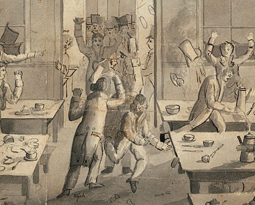 "Harvard's era of dissent began with the ""Great Butter Rebellion"" of 1766. It was the first known student protest on an American campus and for a time led to half the student body being suspended."