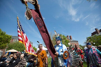 The Harvard Powwow shared space this weekend in Radcliffe Yard with the Arts First festival.