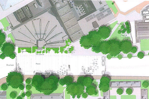 An artist's rendering of what the plaza outside Harvard's Science Center will look like after it is refurbished, with the goal of transforming the site from a pedestrian walkway into a vibrant meeting space for Harvard student, faculty and staff events, and the surrounding community.