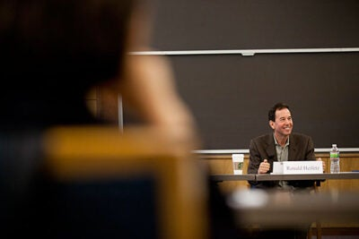 "Ronald Heifetz, a senior lecturer at the Harvard Kennedy School, outlined some of the difficulties of using the case study method to teach students who come from across the globe, bringing with them various experiences and values.  ""You can't assume the same standards apply,"" Heifetz said."