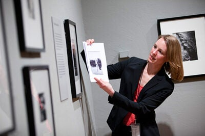 "Curator Laura Muir (pictured) discussed the work of Lyonel Feininger. Known primarily as a painter,  Harvard Art Museums/Arthur M. Sackler's fourth-floor gallery offers viewers a comprehensive look at his largely unknown photographic work in ""Lyonel Feininger: Photographs, 1928-1939."""