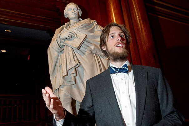 """""""I'm giving a speech in Latin!"""" said this year's Latin orator Michael Velchik, incredulous at the suggestion that he might be nervous. """"If I mess up, who would know?"""" Photo by Jon Chase/Harvard Staff Photographer"""