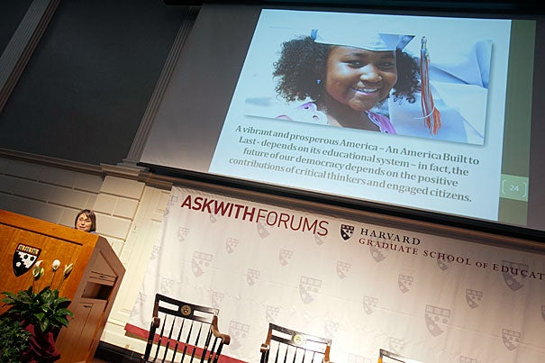 With students graduating from college with on average $25,000 in debt, the administration has taken aim at bringing down the skyrocketing costs, said panelist Martha Kanter, undersecretary of the U.S. Department of Education and an HGSE graduate.