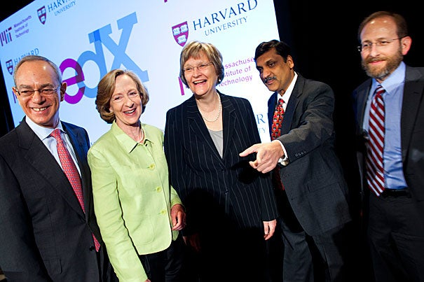 Harvard and MIT announced edX, a joint venture that builds on MITx and Harvard distance learning. Making the announcement were MIT Provost L. Rafael Reif (from left), MIT President Susan Hockfield, Harvard President Drew Faust,  MIT's Anant Agarwal, and Harvard Provost Alan Garber.