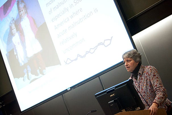 "Mary Penny, of Peru's Instituto de Investigación Nutricional, outlined a successful program to improve nutrition among urban poor children in the city of Trujillo.  Penny delivered the keynote address at the Harvard Global Health Institute's Fourth Annual Symposium on Nutrition and Global Health, which this year focused on the topic of ""Nutrition and Child Health: Undernutrition."""