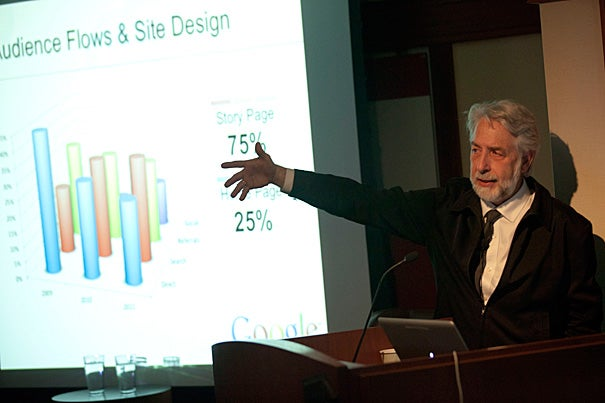 Google's Richard Gingras said that newspapers need to toss out the concept of editions. A newspaper website needs to look more like a Wikipedia page — continuously updated by a single reporter and editor with a single URL, he told his audience at the Nieman Foundation.