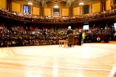 Poet Seamus Heaney (left) last visited Harvard in October 2008, and gave a reading at Sanders Theatre after an introduction by Harvard's Helen Vendler (right). During his decades of part-time teaching at Harvard, Heaney lived at Adams House.