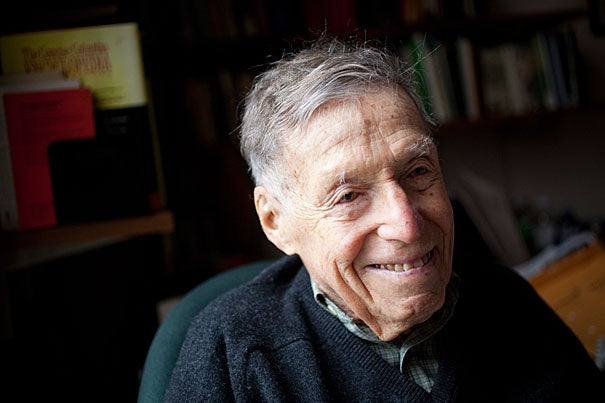 """To win the Centennial Medal in his 100th year seems just right for a man who """"literally embodies the American studies century,"""" says Professor Werner Sollors of his longtime friend and colleague, the literary historian Daniel Aaron, Ph.D. '43 (pictured), and the Victor S. Thomas Professor of English and American Literature Emeritus at Harvard University."""