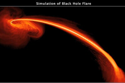 This computer-simulated image shows gas from a tidally shredded star falling into a black hole. Some of the gas also is being ejected at high speeds into space.