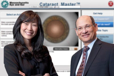 The Cataract Master was co-developed by Harvard Medical School's Bonnie An Henderson (left), assistant clinical professor of ophthalmology, and  John I. Loewenstein, ophthalmology residency training program director and an associate professor of ophthalmology, in addition to several colleagues.
