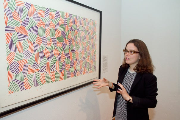 "Mary Potter '12, who helped create the new Harvard Art Museums exhibit on Jasper Johns, discusses his lithograph and woodcut ""Scent"" (1976)."