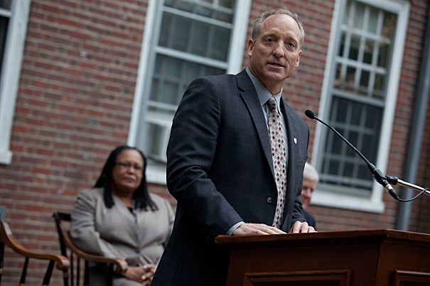 FAS Dean Michael D. Smith addressed a crowd of more than 100 students, faculty, staff, and alumni at the groundbreaking for the Old Quincy Test Project. Smith, who chairs the executive committee on House Renewal, hailed the groundbreaking as a celebration of Harvard's residential system and its centrality to undergraduate education.